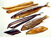 Geräucherte Fische: Schillerlocken, Makrelen, Aale, Forellen