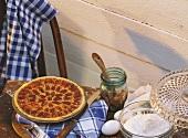 Pecan pie in round dish
