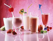 Assorted Fruit Milkshakes with Straws