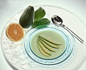 Cold Avocado and Grapefruit Soup with Garnish of Avocado Wedges