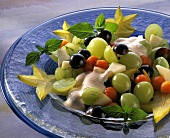 Mixed grape salad with cream & mint