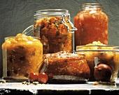 Jars of Homemade Relishes and Chutneys