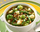 Healthy vegetable stew of green beans, Brussels sprouts etc