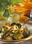 Grape Leaves stuffed with Eggplant and Millet Mousse