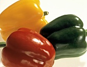Three Bell Peppers; Red and Green; Yellow