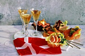 Assorted Hors d'oeuvres on Bread Slices with Wine