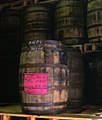 Whiskey barrel in stand in Midleton Distillery, Cork, Ireland
