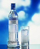 A Bottle and Glass of Ouzo