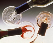 Pouring Red White and Blush Wine