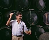 Sherry-Probe im Keller des Erzeugers Lustau in Jerez, Spanien