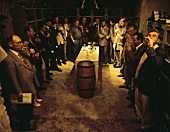 Wine Tasting in a Cellar of Olivier Leflaive; Montrachet; Burgundy
