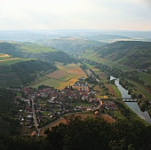 View of wine locality Oberhausen & its vineyards on the Nahe