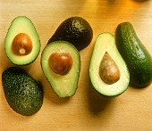 Three Avocados Cut in Half