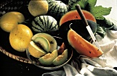 Assorted Melons in a Bowl and Basket