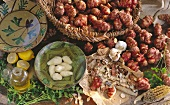 Jerusalem Artichokes in a Basket; Some Peeled in a Bowl