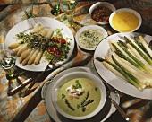 Three asparagus dishes