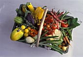 Various vegetables and a few herbs in wooden basket