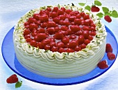 Raspberry cream gateau on blue glass plate