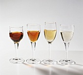 Four sherry types: Oloroso, Amontillado, Pale Cream, Fino