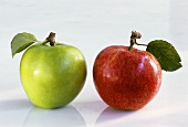 Two apples: on Red Delicious & one Granny Smith