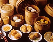 Various Chinese pasties & dumplings with steaming baskets