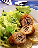 Breaded turkey roll with salad