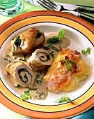 Turkey roll with spinach; potato and carrot gratin