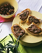 Crostini (toasted bread with olive paste, Italy)