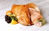 Smoked turkey breast, one sliced