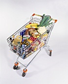 Shopping trolley with various foods
