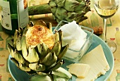 Artichoke Stuffed with Cheese Souffle; Fresh Parmesan; White Wine