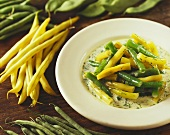 Green and yellow beans in herb whip