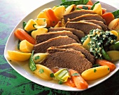 Boiled beef, vegetables & herb and egg sauce