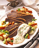 Boiled beef fillet with horseradish sauce