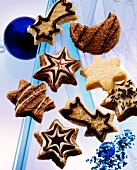 Christmas biscuits made from light & dark sweet pastry