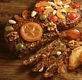 Zelten (S. Tyrolean fruit bread with nuts, almonds, fruit)