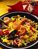 Paella with chicken, scampi, pork, chorizo & mussels