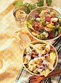 Salad with potatoes & mozzarella, & with eggs & ham