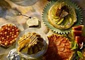 Various cakes & gateaux with melon