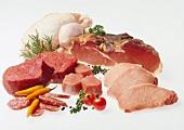 Verschiedene Fleischsorten, Wurstwaren & Geflügel
