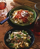 Pasta all'Amatriciana & ribbon noodles with mushroom sauce