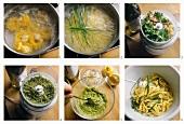 Preparing ribbon noodles with hazelnut pesto sauce