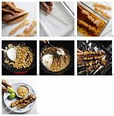Preparing meat kebabs with peanut sauce