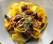 Pappardelle (broad ribbon noodles) with lamb bolognese