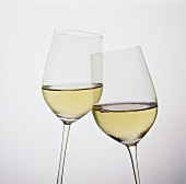 Two tilted white wine glasses
