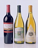 Californian wines: Zinfandel and two Chardonnay bottles