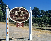 Sign of Sutter Home Winery. St. Helena, Napa Valley, USA