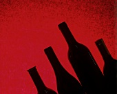Four wine bottles against red background