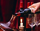 Stylishly decanting a bottle of red wine