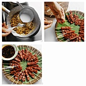 Making kebabs with peanut sauce (beef sate)